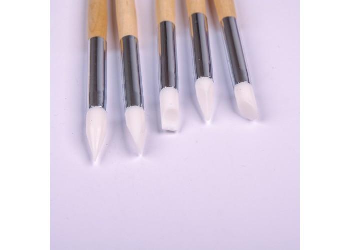 Набір силіконових кистей для ліплення/втирки 5шт (ручка дерево) Master Professional