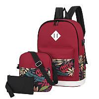 Рюкзак 3 в 1 Lesko LP1931 Красные листья с сумкой и кошельком повседневная сумка женская 30L