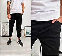Мужские джинсы джоггеры черного цвета, чёрные джинсовые штаны на резинке Турция