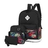Рюкзак 3 в 1 Lesko LP1931 Черные листья с сумкой и кошельком повседневная сумка женская 30L