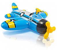 Детский плотик для плавания Самолетик 57537 с водяным пистолетом (Синий)