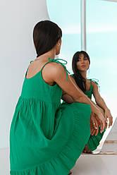 Приятное короткое хлопковое платье на тонких завязках свободного кроя в 3 цветах в размере S, M, L.