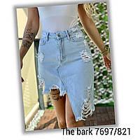 """Спідниця жіноча джинсова THE BARK, рванка, розміри 34-40 """"JeansStyle"""" купити оптом в Одесі на 7км"""