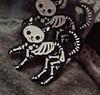 Брошь брошка значок скелет черный кот кошка металл пин эмаль, фото 4
