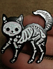 Брошь брошка значок скелет черный кот кошка металл пин эмаль, фото 5