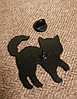 Брошь брошка значок скелет черный кот кошка металл пин эмаль, фото 3