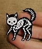 Брошь брошка значок скелет черный кот кошка металл пин эмаль, фото 2