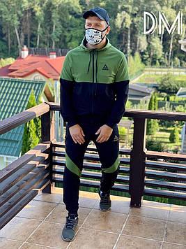 Качественный мужской спортивный костюм Reebok супер реплика. Мужские спортивные штаны + кофта хаки оливковый