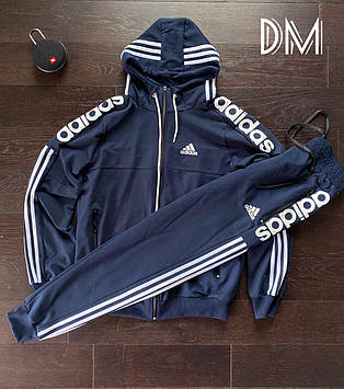 Качественный мужской спортивный костюм Adidas копия синий классический. Мужские спортивные штаны + олимпийка