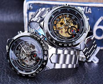 Мужские наручные механические часы Forsining скелетон с открытым механизмом металлические стальные Skeleton