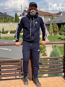 АКЦИЯ! Качественный мужской спортивный костюм синий классический. Мужские спортивные штаны олимпийка комплект