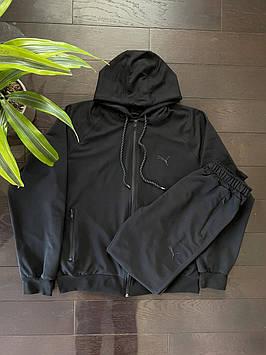 Спортивный мужской костюм Puma люкс копия, спортивные штаны + кофта Пума черный