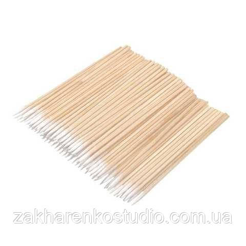 Ватні бамбукові палички дерев'яні ультратонкі в пакеті для фарбування брів і вій 100 штук