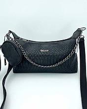 Женская сумка «Лойс» черная рептилия Welassie