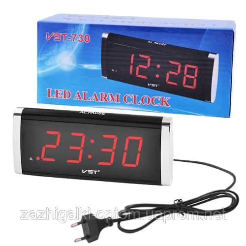Часы сетевые VST-730-1 красные, 220V