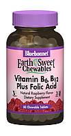 Витамин В6, B12 + Фолиевая кислота Earth Sweet Chewables Bluebonnet Nutrition Вкус Малины 60 жева, КОД: