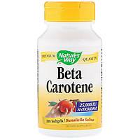 Бета Каротин Витамин А Natures Way Beta Carotene 25 000МЕ 100 гелевых капсул NWY40131, КОД: 1724739