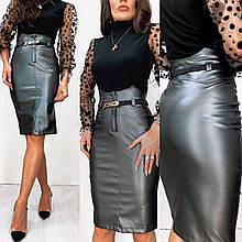 Женская кожаная юбка батал графит SKL11-280478