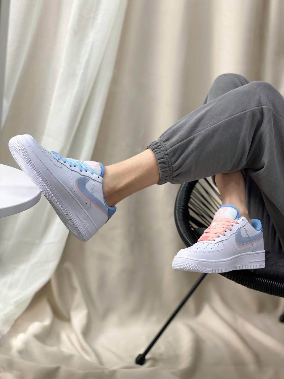 Кросівки Nike Air Force White/Blue/Pink (білі/сині/рожеві)