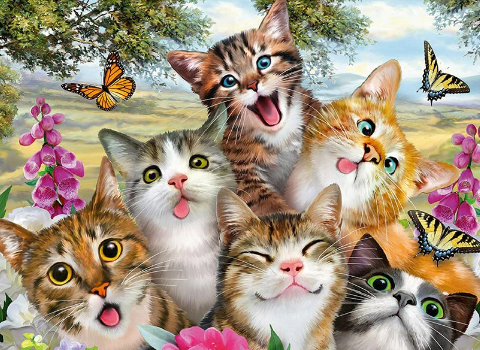 TN907 Набор алмазной мозаики на подрамнике Добрые котята