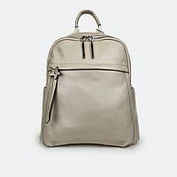 Стильный рюкзак женский кожаный молочный 3062 большой