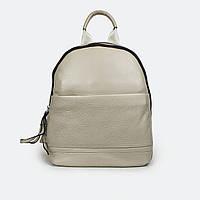 Кожаный женский рюкзак городской бежевый 6610 средний, фото 1