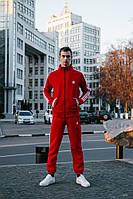 Тёплые штаны в стиле Adidas line красные