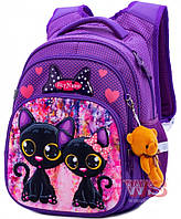 Рюкзак ортопедический школьный для девочки в 1 класс на три отдела фиолетовый легкий Winner One SkyName R3-240