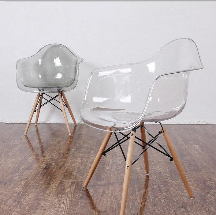 Прозоре пластикове крісло на букових ніжках з чорним металломLeon