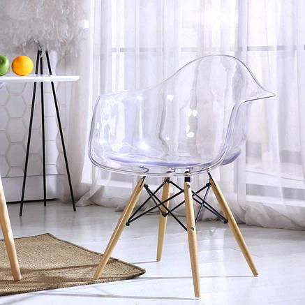 Прозоре пластикове крісло на букових ніжках з чорним металломLeon, фото 2