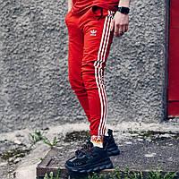 Спортивные штаны в стиле Adidas Three line красные