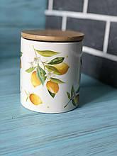 Банка керамическая 600мл с бамбуковой крышкой Сочные лимоны