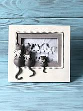 Рамка для фотографії Три кота 21см, колір - білий з сірим