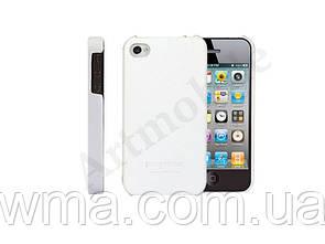 Чехол накладка на iPhone 4/4S, кожаный, DiscoveryBuy, белый