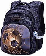 Рюкзак ортопедический школьный для мальчика в 1-4 класс черный с мячом Winner One SkyName R3-237 29х19х38 см