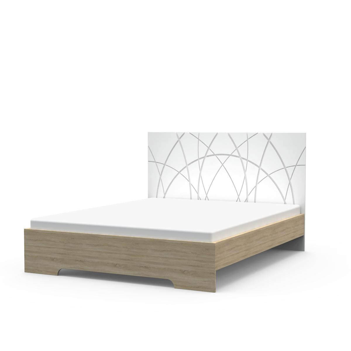 Ліжко Німан Міа + 4 ящики 180x200 білий супер мат + дуб сонома