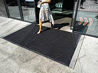 Грязезащитный резиновый ковер Волна 15 см 120х185 см черный с кантом