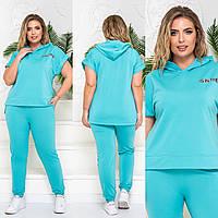 Легкий женский спортивный костюм, батал, арт 822, цвет голубая мята
