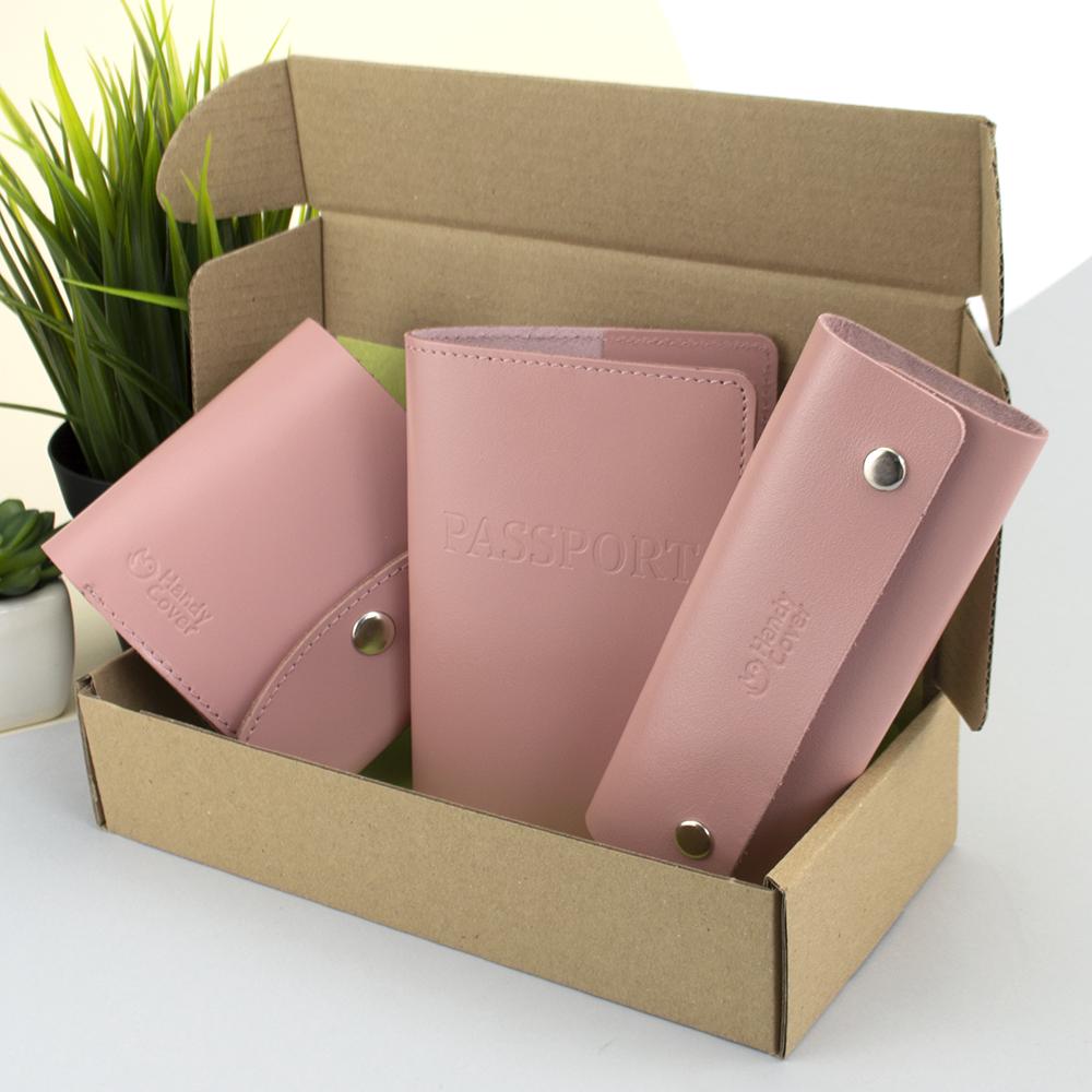 Подарочный набор женский Handycover №54 (розовый) кошелек + ключница + обложка на паспорт