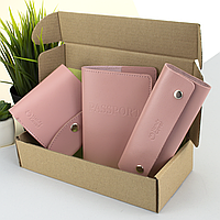 Подарочный набор женский Handycover №54 (розовый) кошелек + ключница + обложка на паспорт, фото 1
