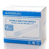 Голка ін'єкційна 23G (0,6x25 mm) одноразова стерильна (100 шт/уп.) HEMOPLAST