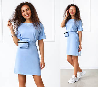Літнє плаття жіноче, вільного крою з сумочкою на поясі норма і батал в 4 - х кольорах однотонних