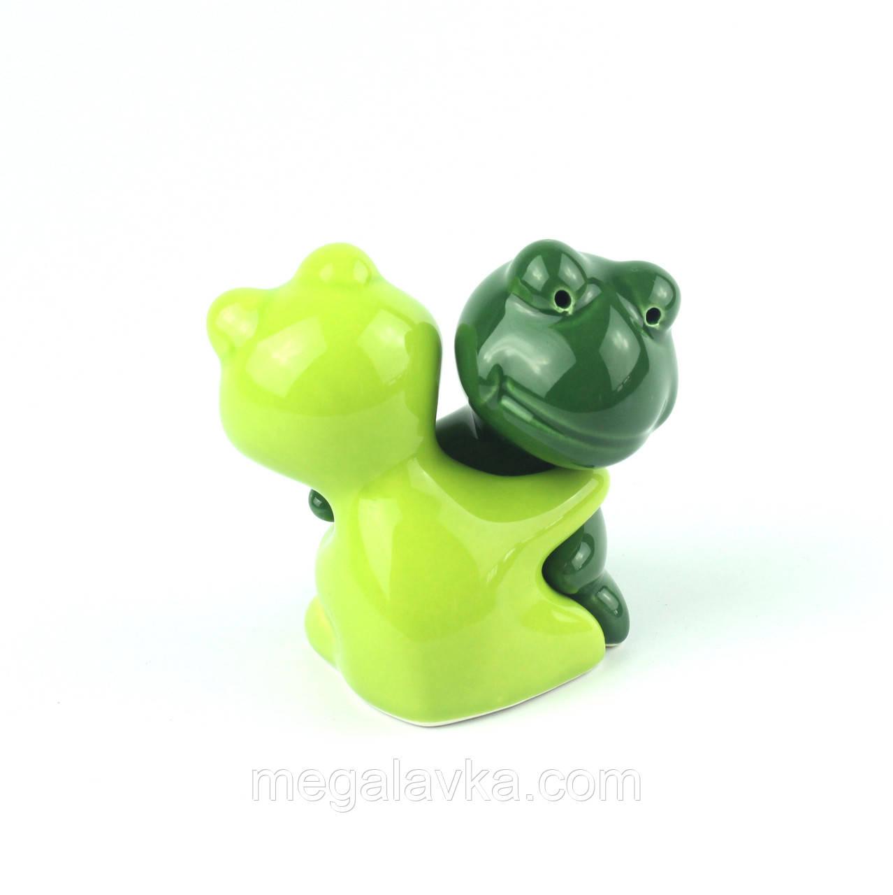 """Солонка перечниця """"Жаба"""" /темно-зелений і салатовий"""