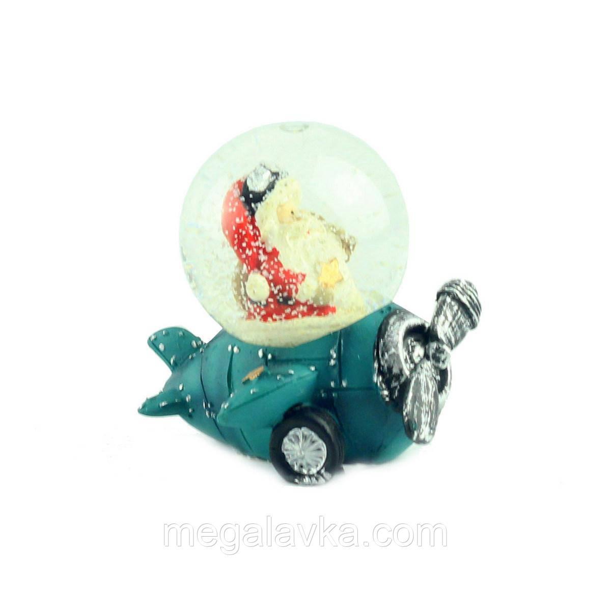 """Снігова куля """"Санта на синьому літаку"""", 7 см"""