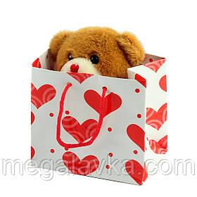 Ведмедик коричневий плюшевий в подарунковій упаковці