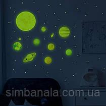 Набор светящихся наклеек «Парад планет» с раскраской в подарок Люмик