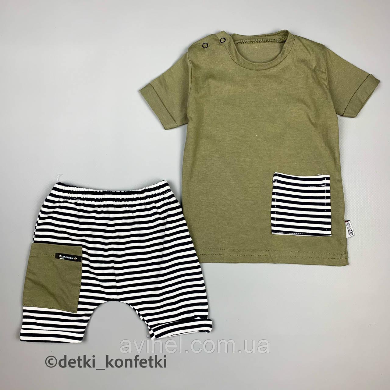 Комплект футболка, шорты Хаки Интерлок Murat baby Турция 74 (р) 86