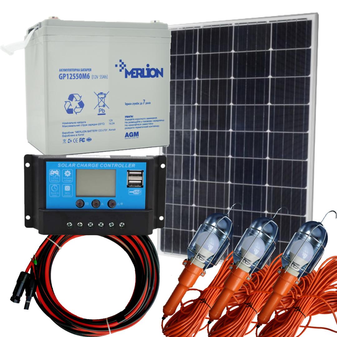 130 Вт автономна сонячна станція комплект Освітлення-130 на 10 годин роботи на 3 лампи 12В 10Вт