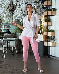 Женский летний костюм двойка брюки+пиджак большой размер