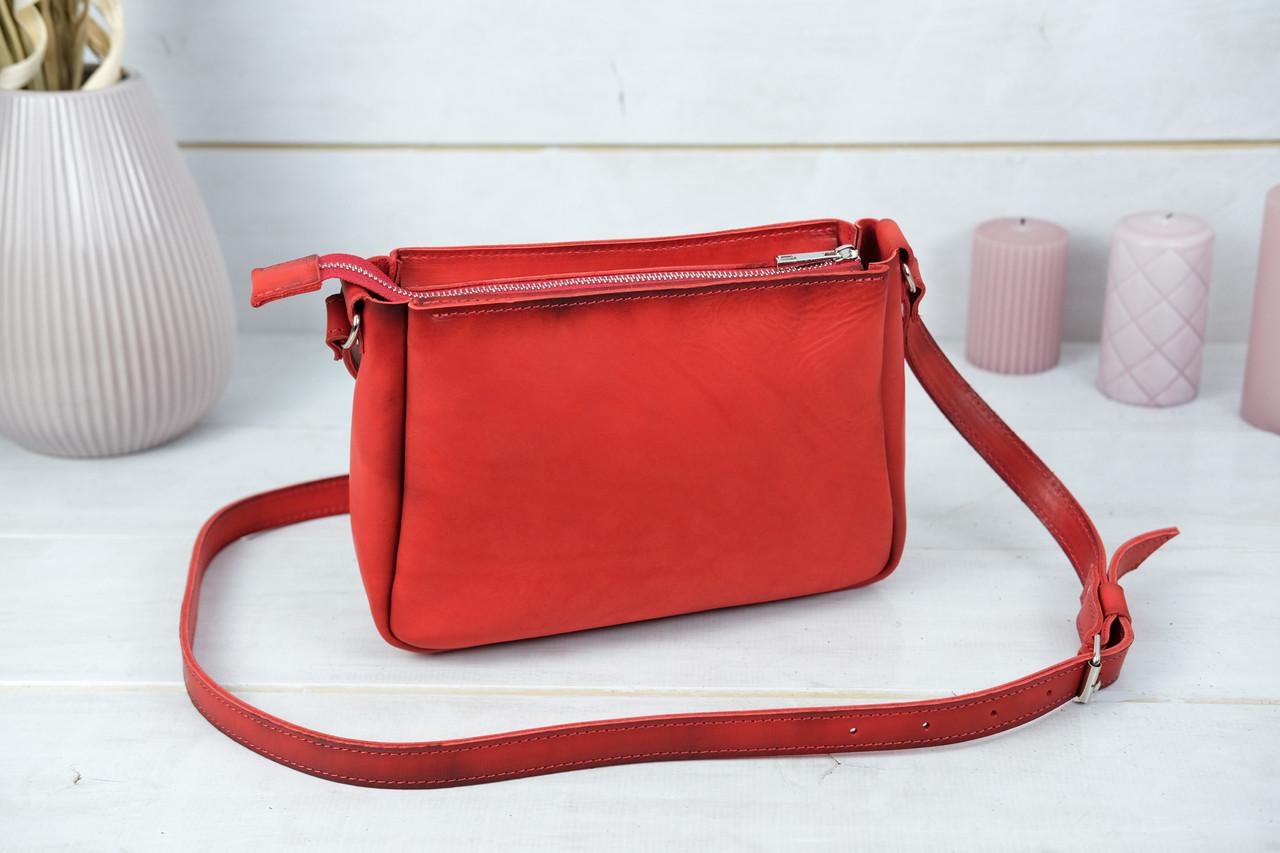 Сумка женская, Кожаная сумочка Надежда, Кожа Итальянский краст, цвет Красный